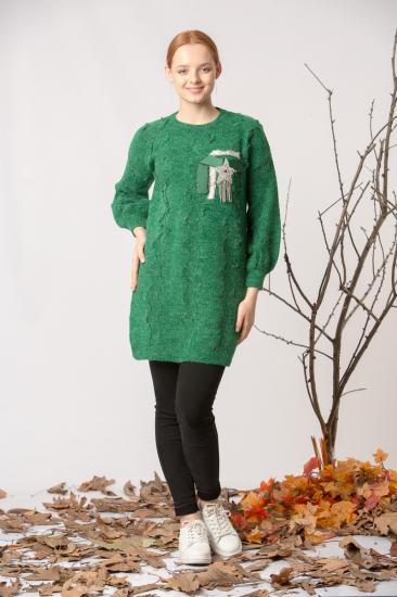 Pullu Midi Boy Triko Kazak - Yeşil