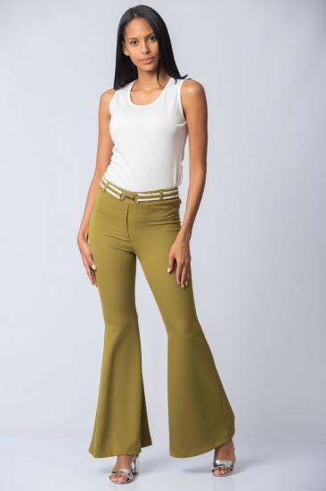 İspanyol Paça Pantolon - Yeşil
