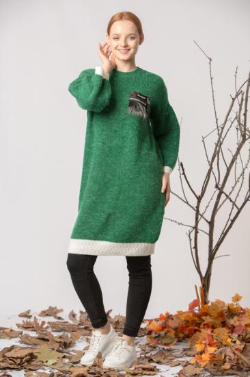 Taş Baskılı Triko Kazak - Yeşil