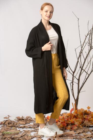 Uzun Triko Hırka - Siyah