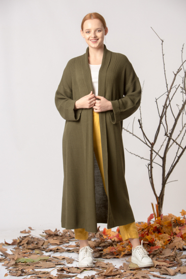Uzun Triko Hırka - Yeşil