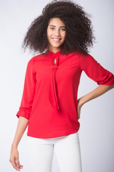 Yakası Fularlı Bluz - Kırmızı