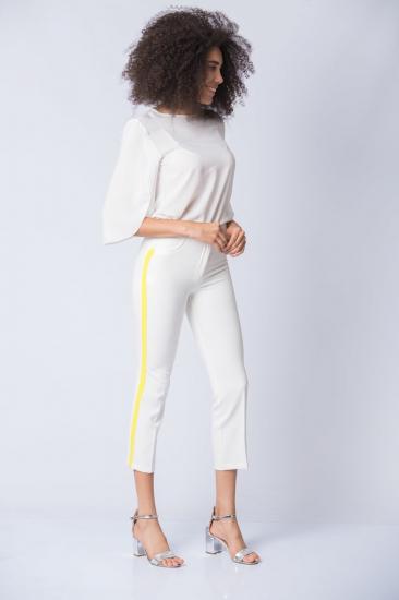 Yanı Şeritli Pantolon - Beyaz