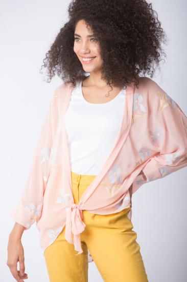 Yarasa Kol Nakışlı Kimono - Somon