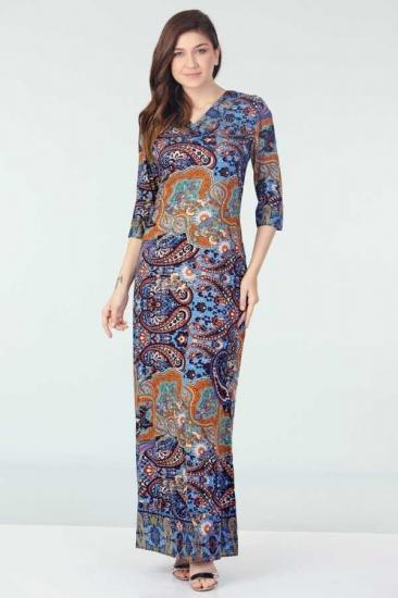 Yarım Kollu Desenli Elbise - Mavi