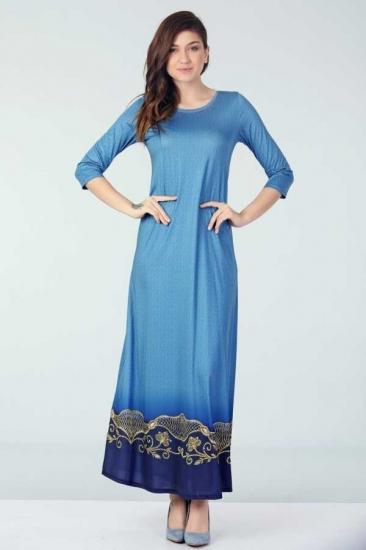 Yarım Kollu Elbise - Mavi