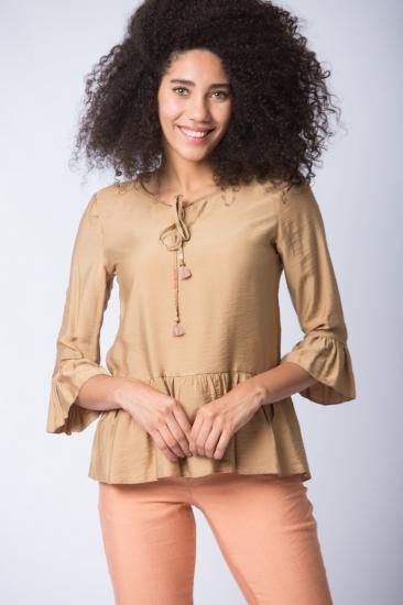 Yarım Volan Kollu Bluz - Camel