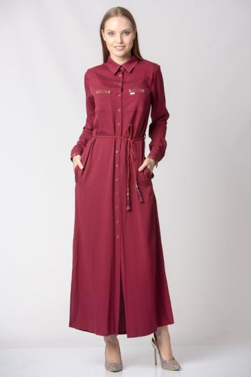 Yırtmaçlı Gömlek Elbise - Bordo