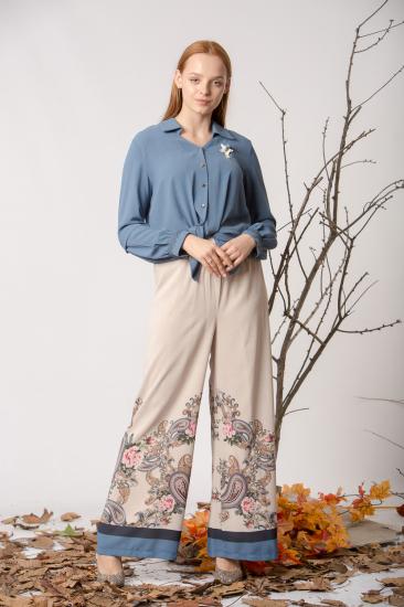 Şal Desenli Bol Paça Pantolon - Mavi
