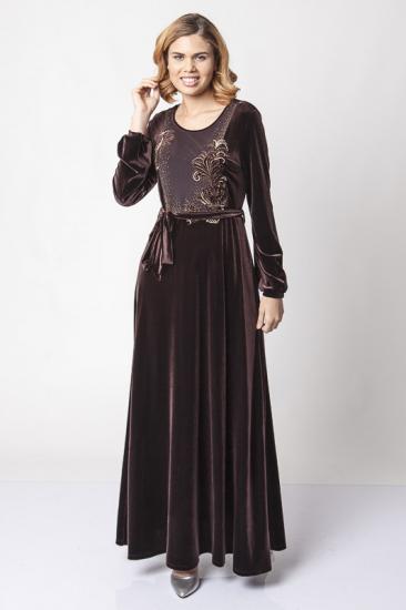 Belden Kuşaklı Dantel İşlemeli Kadife Elbise - Kahverengi