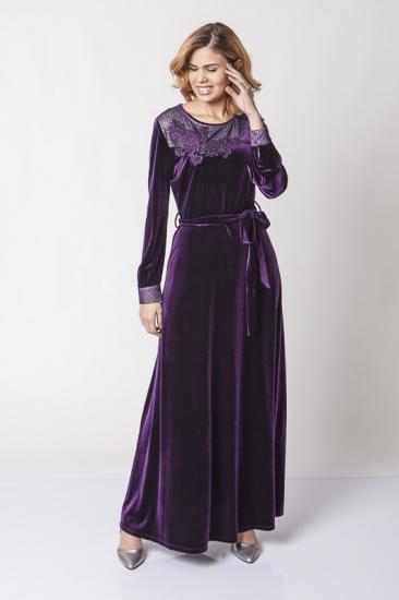 Belden Kuşaklı Dantel İşlemeli Kadife Elbise - Mor