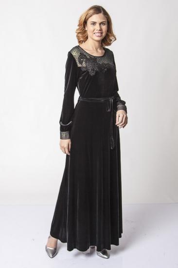 Belden Kuşaklı Dantel İşlemeli Kadife Elbise - Siyah
