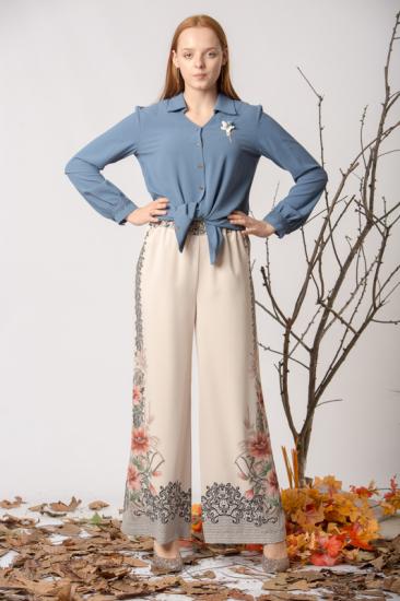 Belden Lastikli İşleme Desenli Pantolon - Bej