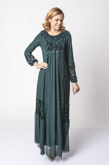 Dantel Şeritli İşlemeli Abiye Elbise - Yeşil
