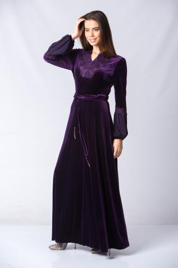 Dantel İşlemeli Belden Kuşaklı Kadife Elbise - Mor
