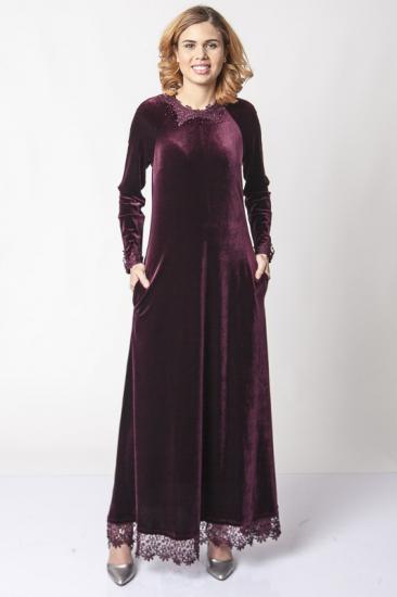 Dantel İşlemeli Kadife Elbise - Bordo