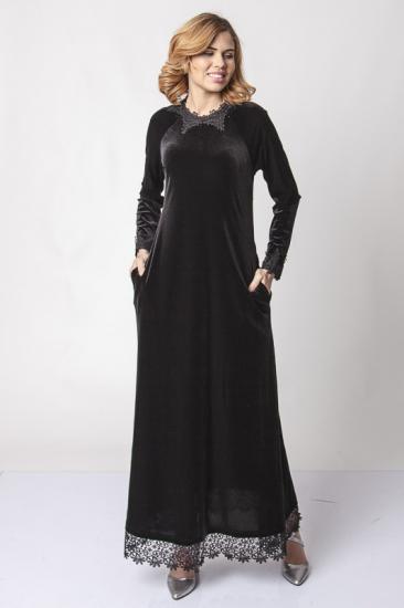 Dantel İşlemeli Kadife Elbise - Siyah