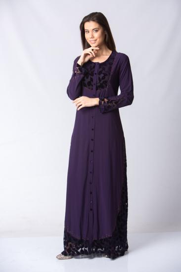Düğmeli İşleme Detaylı Elbise - Mor