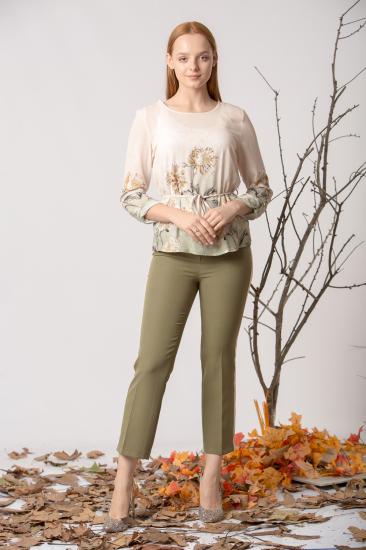 Empirmeli Çiçek Desenli Bluz - Yeşil
