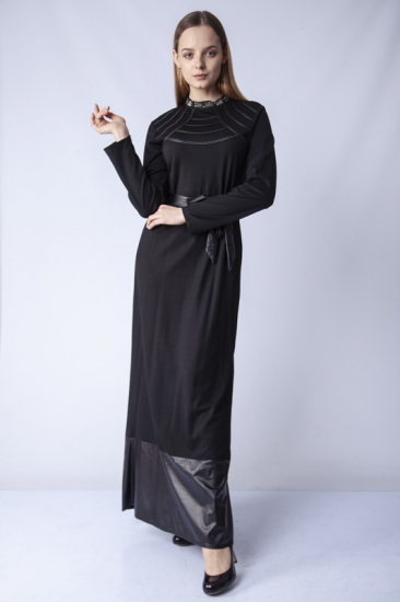 Hakim Yaka İşlemeli Elbise - Siyah