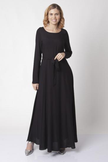 Kuşaklı Kloş Elbise - Siyah