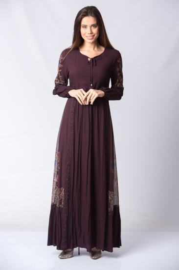 İşlemeli Dantel Detaylı Elbise - Bordo