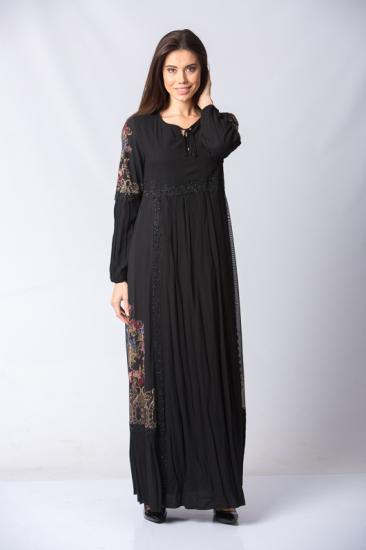 İşlemeli Dantel Detaylı Elbise - Siyah