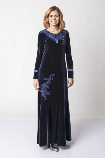Önü Düğmeli Dantel İşlemeli Kadife Elbise - Lacivert