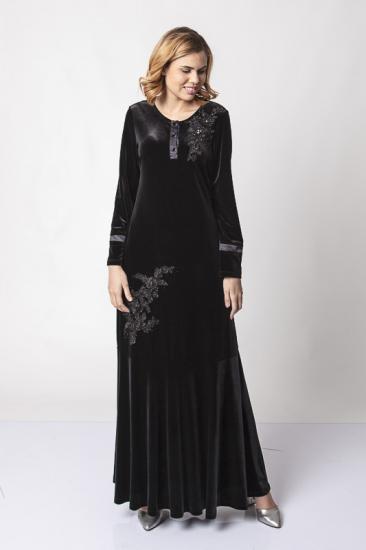 Önü Düğmeli Dantel İşlemeli Kadife Elbise - Siyah