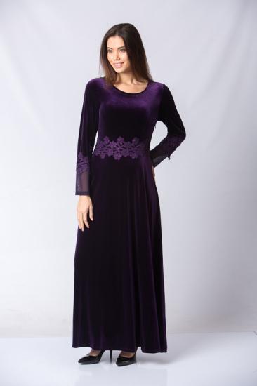 Payetli Kemeri Dantel İşlemeli Elbise - Mor