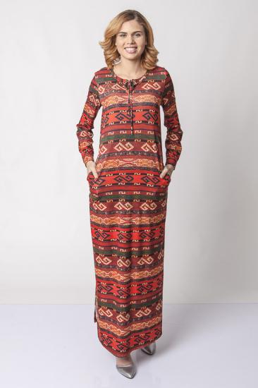 Taş Detaylı Desenli Elbise - Kiremit