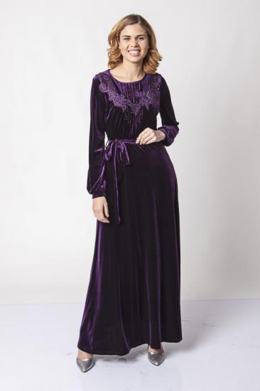 Taş İşlemeli Belden Kuşaklı Kadife Elbise - Mor