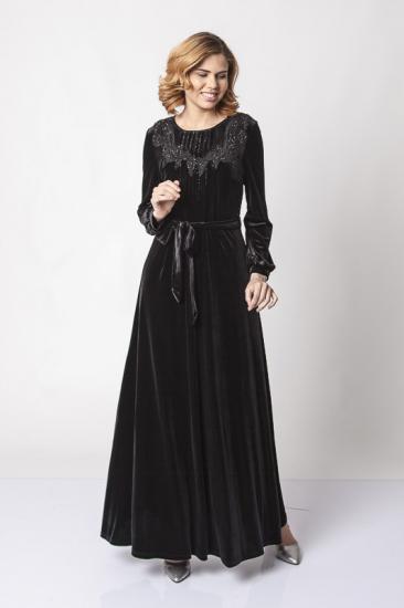 Taş İşlemeli Belden Kuşaklı Kadife Elbise - Siyah