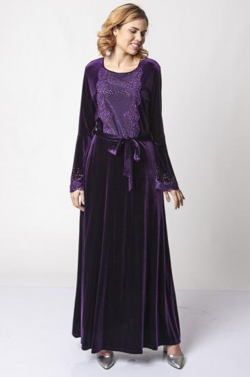 Taş İşlemeli Dantelli Kuşaklı Kadife Elbise - Mor