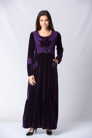 Yakası Bağcıklı Detaylı Cepli Kadife Elbise - Mor
