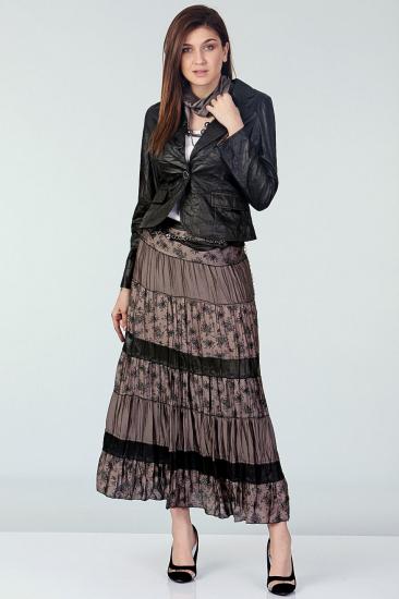 Empirme Desenli Etek Ceket Takım - Siyah-Gri