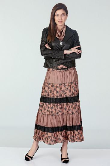 Empirme Desenli Etek Ceket Takım - Siyah-Pembe