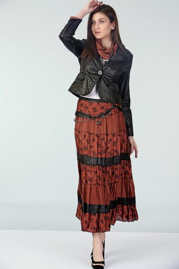 Empirme Desenli Etek Ceket Takım - Siyah-Turuncu