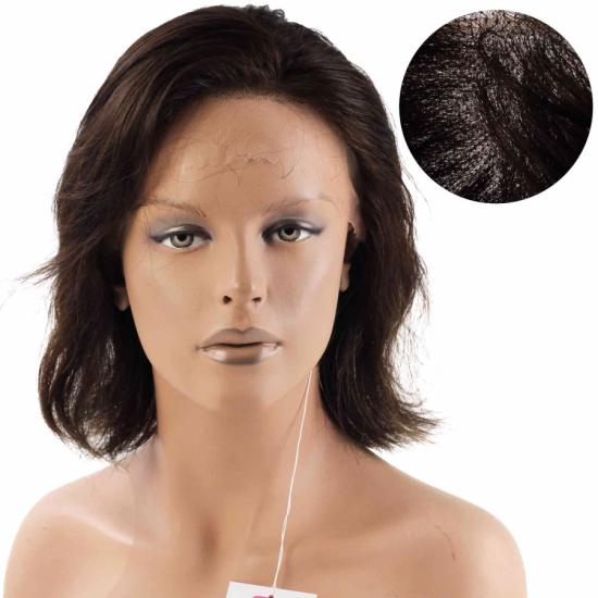 % 100 Doğal Saç Medikal - Tül Peruk / Açık Kestane / SMALL / MONO 13*5 / 15
