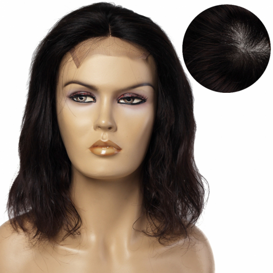 % 100 Doğal Saç Medikal - Tül Peruk / Boyasız, Doğal Dalgalı / Koyu Kahve