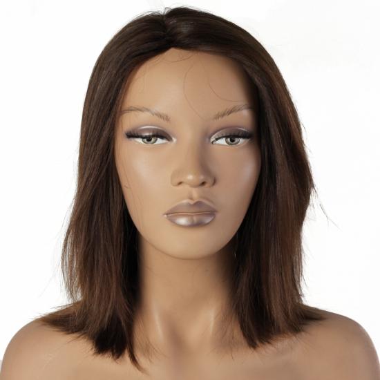 %100 Doğal Saç Peruk / Boyasız, Doğal Düz / Açık Kestane / Ciltli