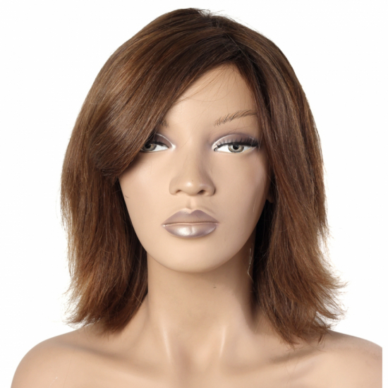 %100 Doğal Saç Peruk / Boyasız, Doğal Düz / Orta Kumral