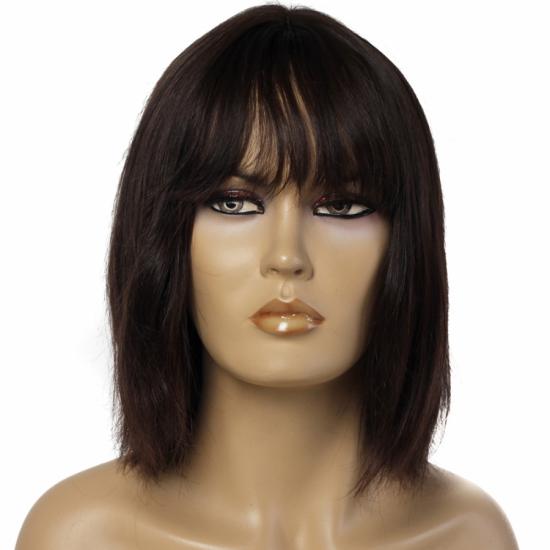 %100 Doğal Saç Peruk / Boyasız, Kaküllü, Doğal Düz / Orta Kestane / Ciltli