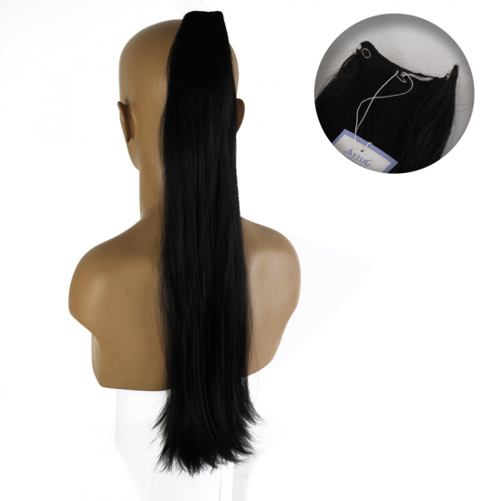 Uzun Düz Taraklı Sentetik Saç / Kuyruk / Siyah / RKP1285 - 1