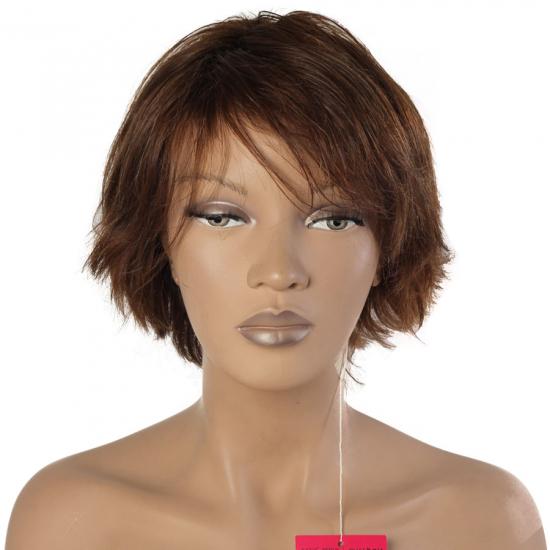 %100 Doğal Saç Peruk / Boyasız, Doğal Düz / Koyu Kumral