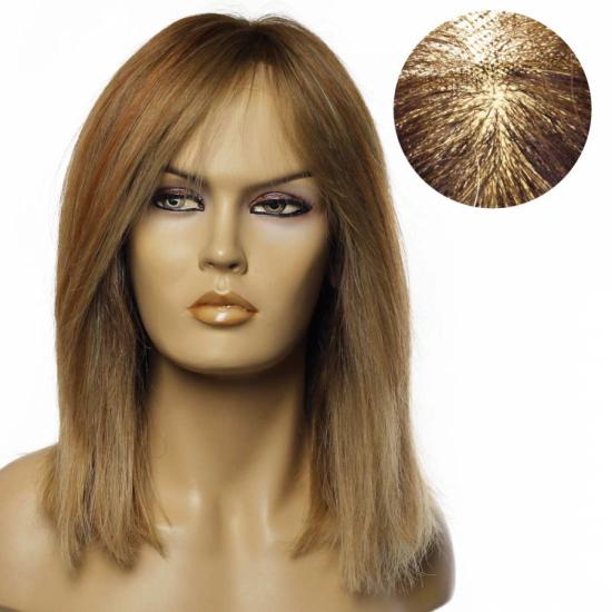 % 100 Doğal Saç Medikal - Tül Peruk /KUMRAL SARI BALYAJLI/ SMALL / MONO 13*5 / 23