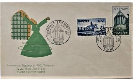 1957 FDC MEVLANA'NIN DOĞUMUNUN 750.YILDÖNÜMÜ NADİR