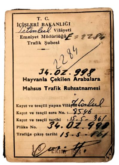 HAYVANLA CEKİLEN ARABALARA MAHSUS TRAFİK RUHSATNAMESİ 34 DZ 998 PLAKALI 1961 TARİHLİ AT ARABASI RUHSATI