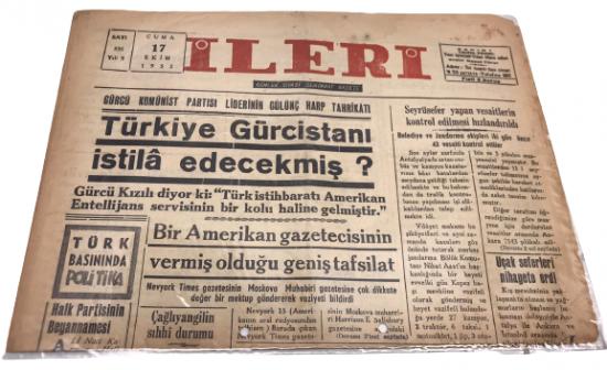 İLERİ GÜNLÜK SİYASİ DEMOKRAT GAZETE 17 EKİM CUMA 1952 ANTALYA İLERİ GAZETESİ SATIŞ FİYATI 5 KURUŞTUR