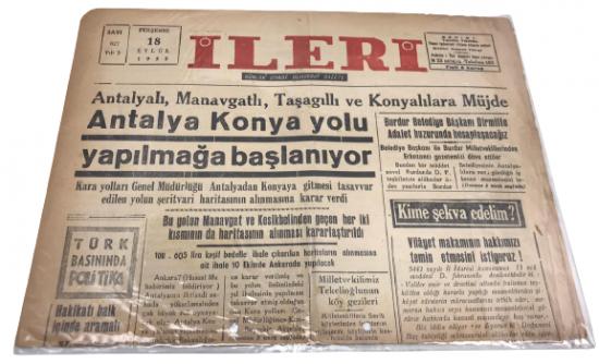 İLERİ GÜNLÜK SİYASİ DEMOKRAT GAZETE 18 EYLÜL PERŞEMBE 1952 ANTALYA İLERİ GAZETESİ SATIŞ FİYATI 5 KURUŞTUR